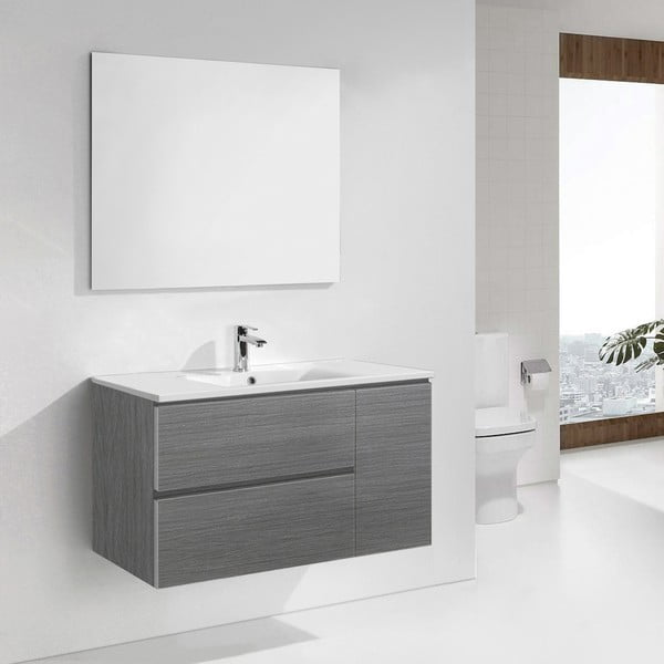 Szafka do łazienki z umywalką i lustrem Happy, odcień szarości, 100 cm