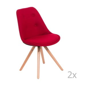 Zestaw 2 czerwonych pikowanych krzeseł D2 Norden Star