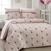 Narzuta dla dzieci z poszewką na poduszkę Flamingo, 160x220 cm