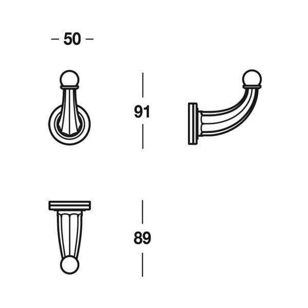 Haczyk Chromo, 5x9x9 cm