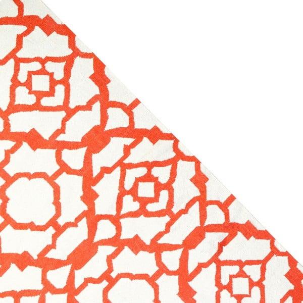 Dywan wełniany Geometry Chara Orange & White, 160x230 cm
