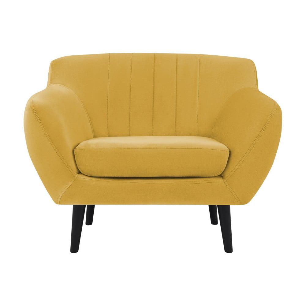 Żółty fotel z czarnymi nogami Mazzini Sofas Toscane