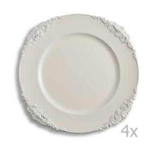 Zestaw czterech kremowych talerzy Brandani Elegance