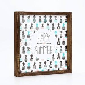 Obraz w ramie Dekorjinal Pouff Happy Summer, 33x33cm
