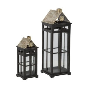 Zestaw 2 lampionów z konstrukcją z drewna jodłowego Mauro Ferretti Cottage