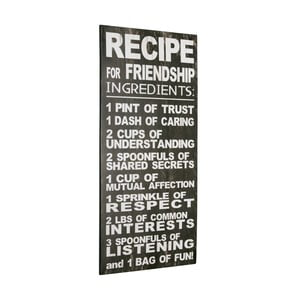 Tablica Recipe for friendship, 60x30 cm
