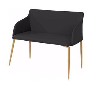 Czarna ławka z drewnianymi nogami Støraa Nimbus