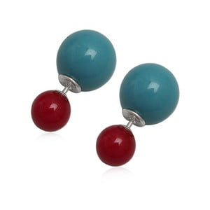 Kolczyki Double Pearl Red and Blue