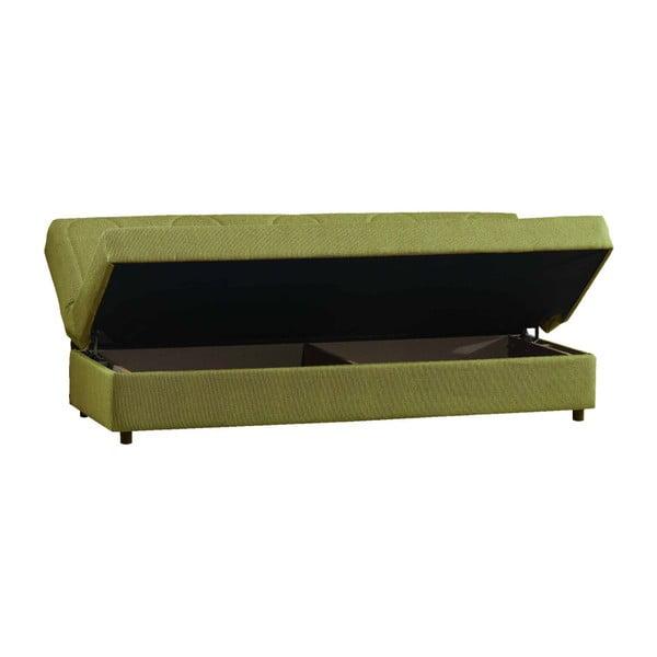 Zielona trzyosobowa sofa rozkładana ze schowkiem Esidra Pause