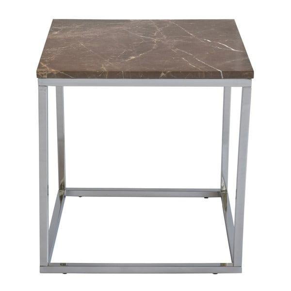 Brązowy stolik marmurowy z chromowanymi nogami RGE Accent, szer.50cm