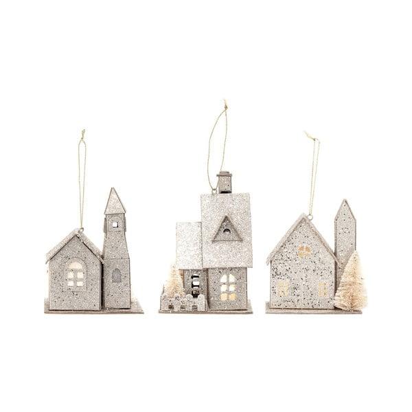 Zestaw 3 papierowych ozdób świątecznych w kształcie domku Bloomingville Ornament