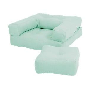 Miętowy dziecięcy fotel rozkładany z podnóżkiem/pufem Karup Mini Cube
