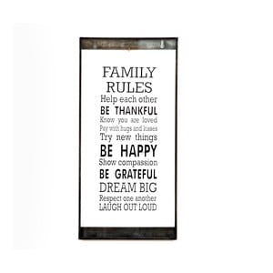 Szklana tabliczka z napisem Family Rules, 20x40 cm
