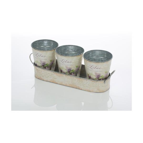 Zestaw 3 doniczek na tacy Lilac