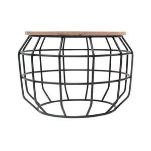 Czarny stolik z blatem z drewna mango LABEL51 Pixel, Ø 56 cm