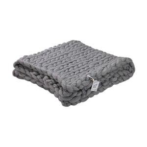Szary ręcznie tkany koc z wełny merynosa WeLoveBeds, 180x140 cm