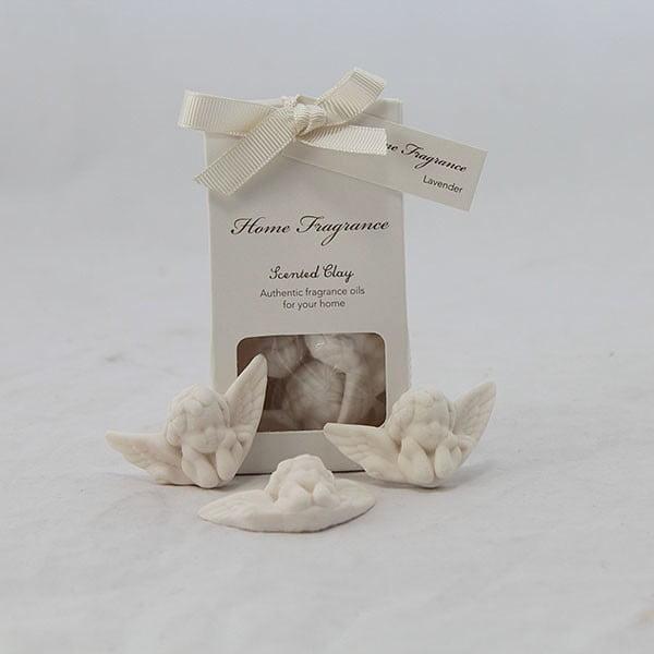 Zestaw 3 aniołków z perfumowanej gliny - lawenda