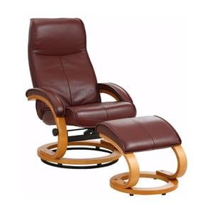 Bordowy regulowany fotel skórzany z podnóżkiem Støraa Rika