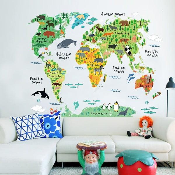 Dziecięca naklejka ścienna Ambiance World Map, 73x95 cm