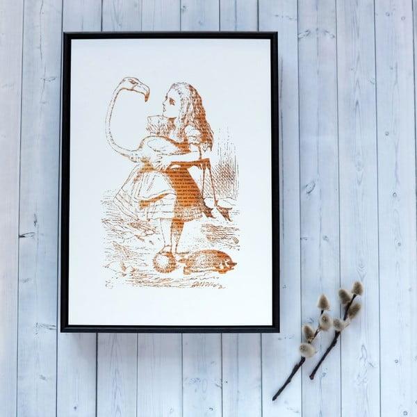 Plakat w drewnianej ramie Alice in Wonderland Flamingo