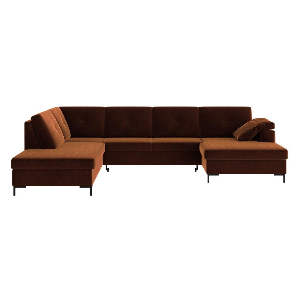 Ciemnopomarańczowa aksamitna rozkładana sofa w kształcie U Ghado Moor, lewostronna