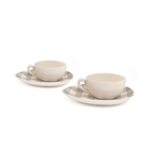 Zestaw 2 filiżanek na cappuccino Nigelli Lawson Gingham Grey