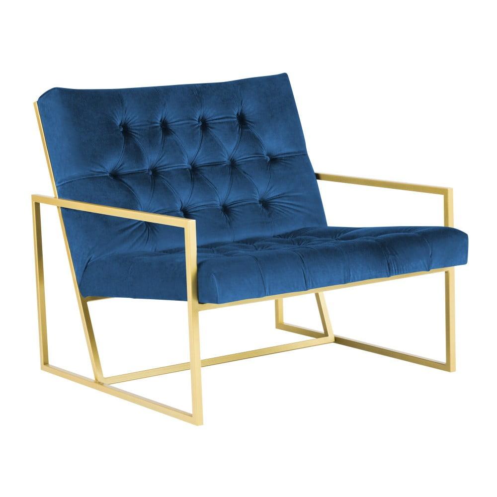 Niebieski fotel z konstrukcją w kolorze złota Mazzini Sofas Bono