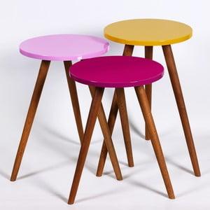 Zestaw 3 stolików Kate Louise Round (fioletowy, różowy, żółty)
