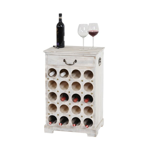 Biały stojak na wino (20 butelek) Mendler Shabby