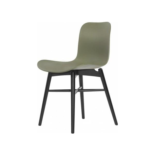 Zielone krzesło do jadalni NORR11 Langue Stained