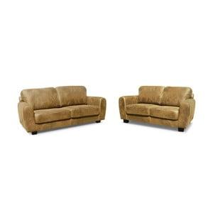 Zestaw 2 beżowych sof, dwuosobowej i trzyosobowej Rodier Tweed