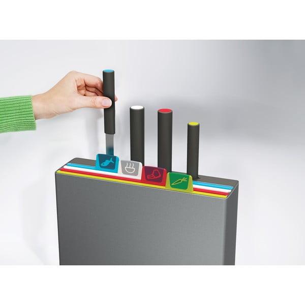 Szary stojak z 4 deskami do krojenia i nożem Joseph Joseph Index, 30x30 cm