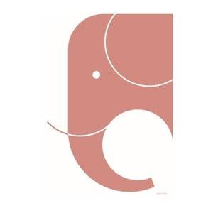 Różowy plakat SNUG.Elephant, 50x70 cm
