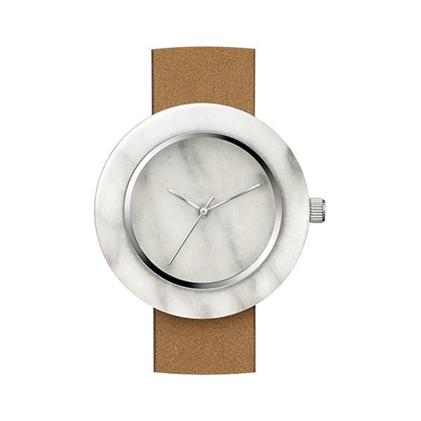 Biały marmurkowy zegarek z brązowym paskiem Analog Watch Co. Marble
