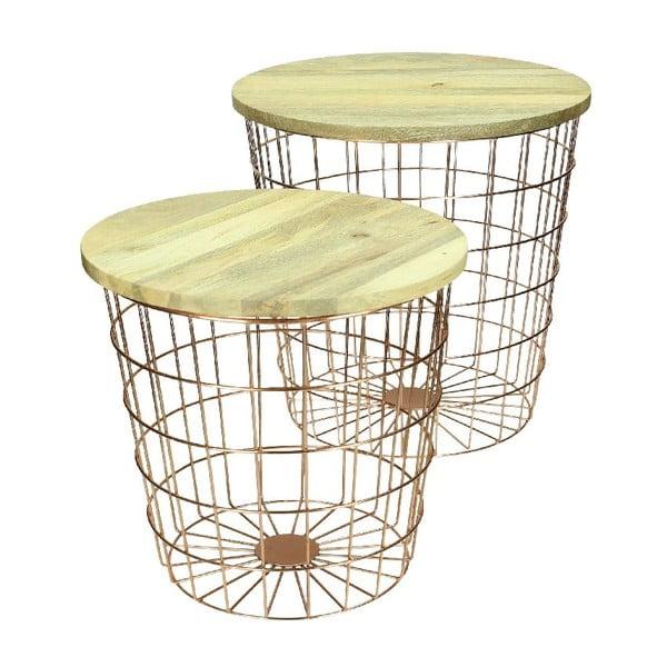 Zestaw 2 stolików Wood Copper