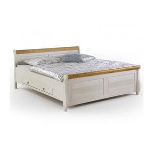 Białe łóżko sosnowe z szufladami SOB Harald, 140x200 cm