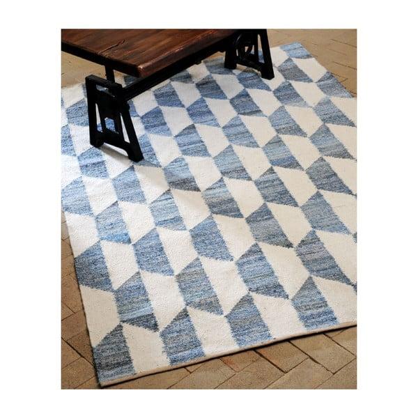 Wełniany dywan Cooper Blue/Ivory, 160x230 cm