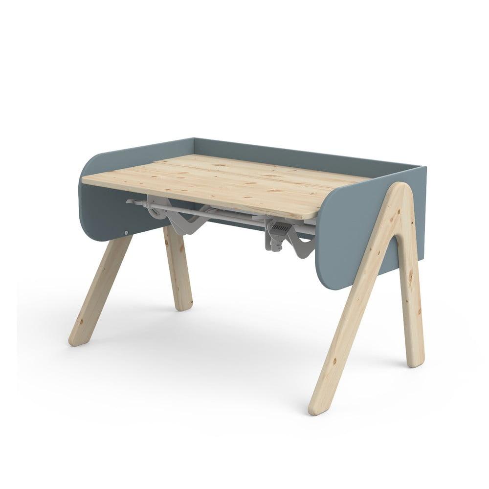 Niebiesko-brązowe biurko z drewna sosnowego z regulacją wysokości Flexa Woody