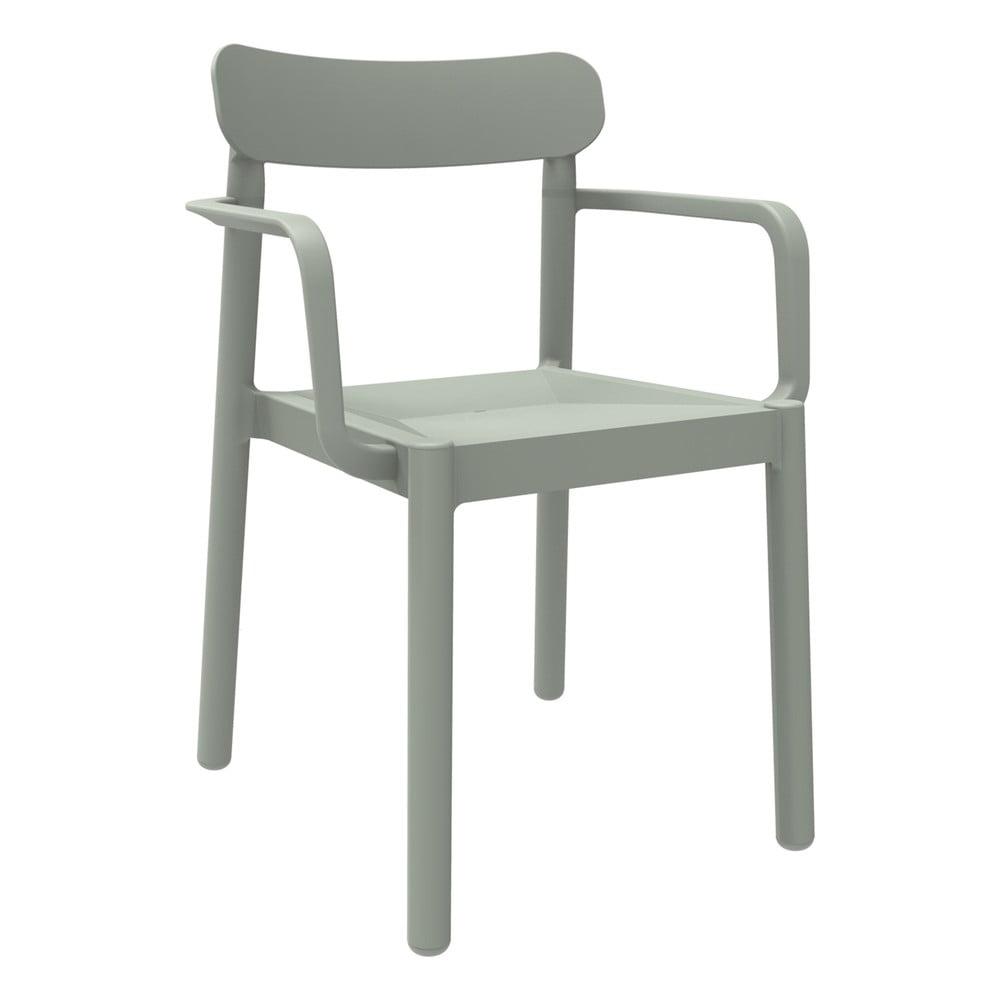 Zestaw 4 szarozielonych krzeseł ogrodowych z podłokietnikami Resol Elba