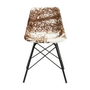 Brązowo-białe krzesło do jadalni ze skórzanym obiciem Kare Design Haudy