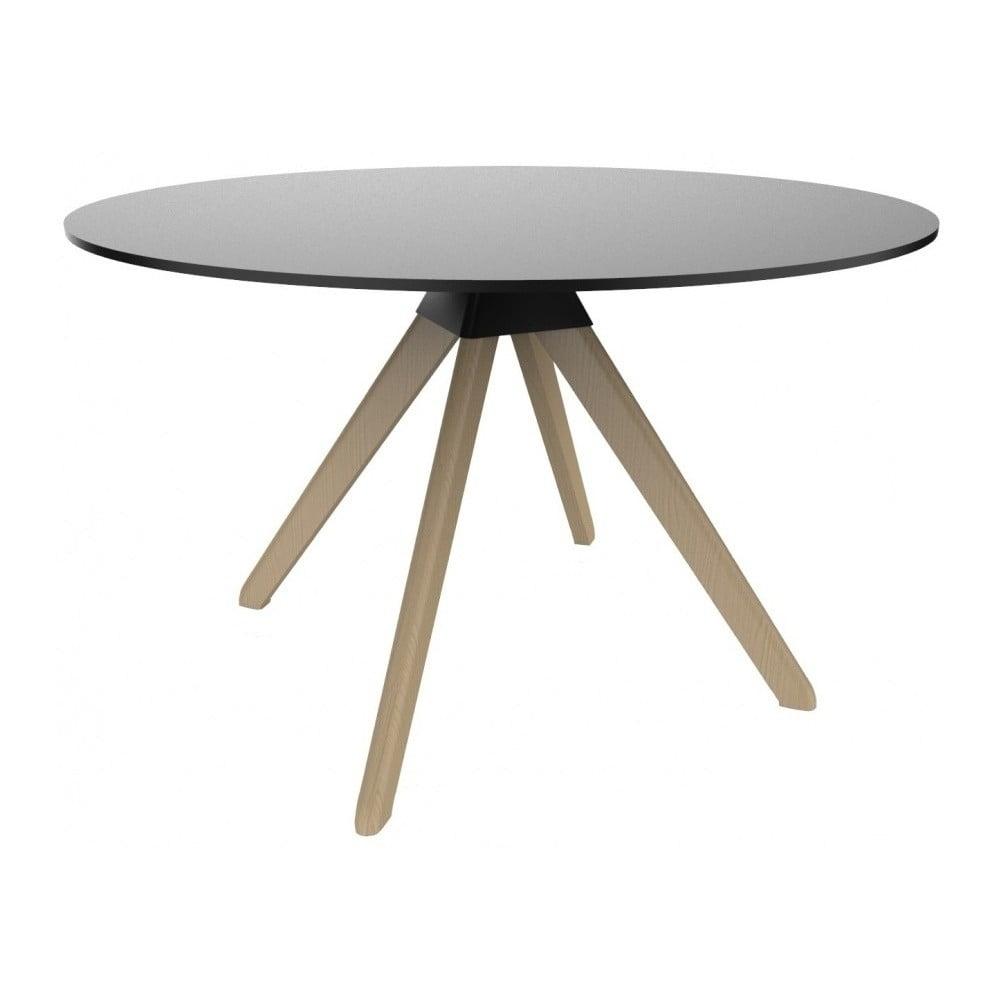 Czarny stół z konstrukcją z bukowego drewna Magis Cuckoo, ø 75 cm