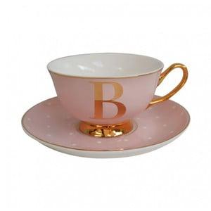 Różowa   filiżanka ze spodkiem z literą B Bombay Duck