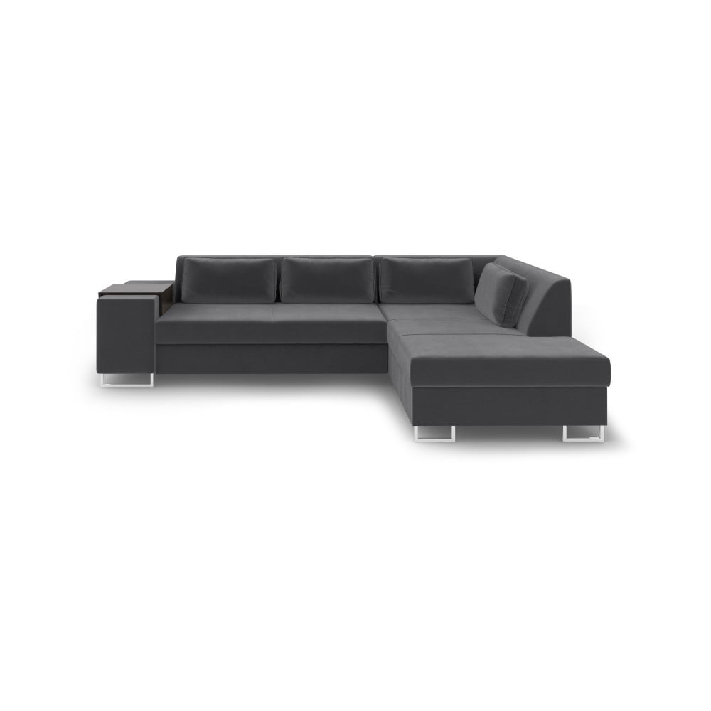 Ciemnoszara rozkładana sofa prawostronna Cosmopolitan Design San Antonio