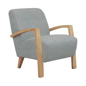Jasnoszary fotel z jasnymi podłokietnikami Helga Interiors Emilia