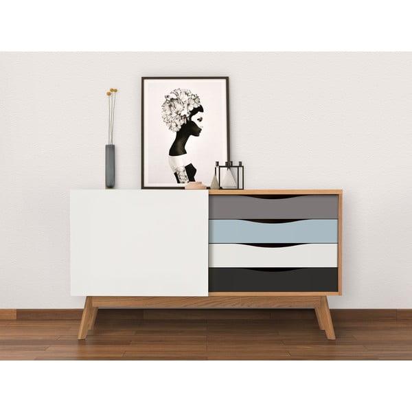 Komoda z niebieskimi i szarymi szufladami Woodman Avon