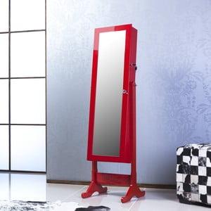 Zamykane lustro stojące ze schowkiem Melody, czerwony