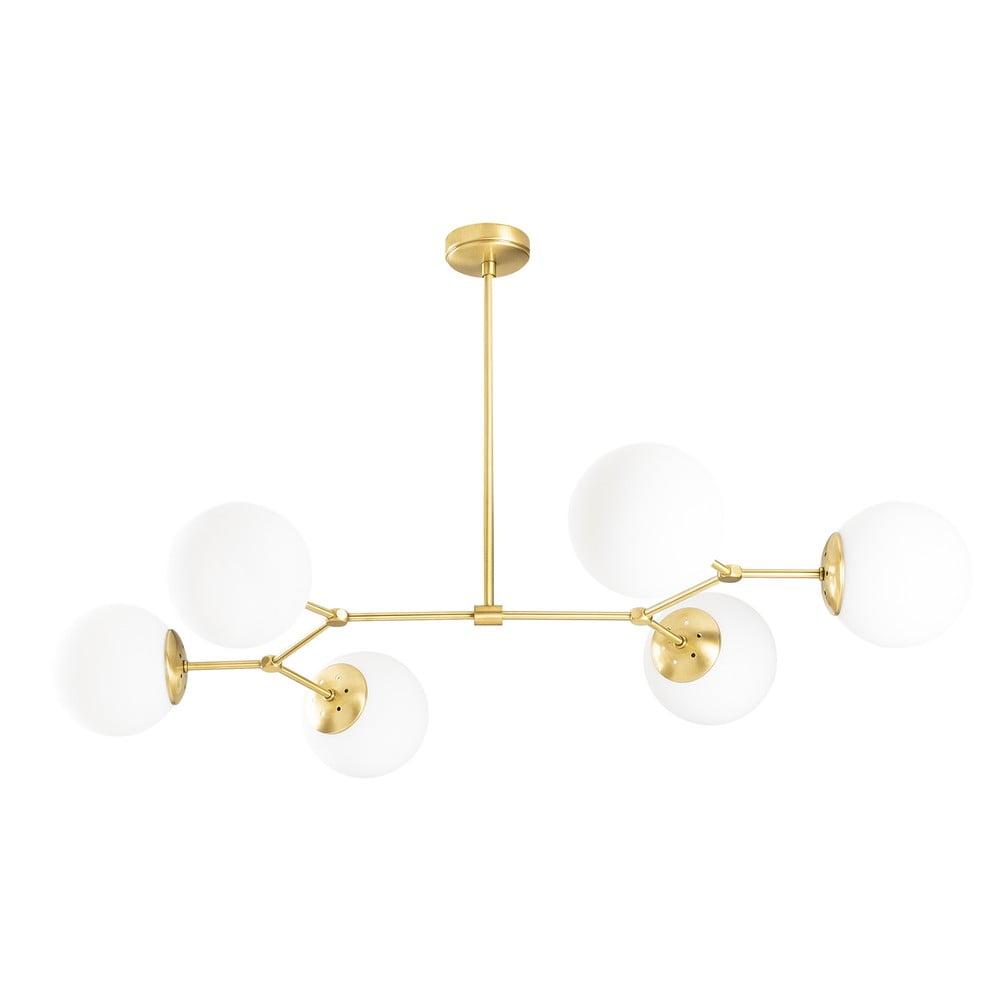 Biała lampa wisząca z 6 kloszami z elementami w kolorze złota Opviq lights Damar Horizontal