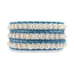 Ciemnozielono-biała bransoletka skórzana z perłami Nova Pearls Copenhagen Néreus