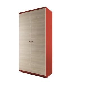 Czerwone szafa 2-drzwiowa z litego drewna dębowego JELÍNEK Amanta
