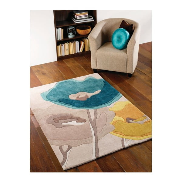 Dywan Poppy Flowers Teal Yellow, 170x120 cm